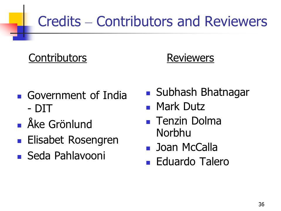 Credits – Contributors and Reviewers