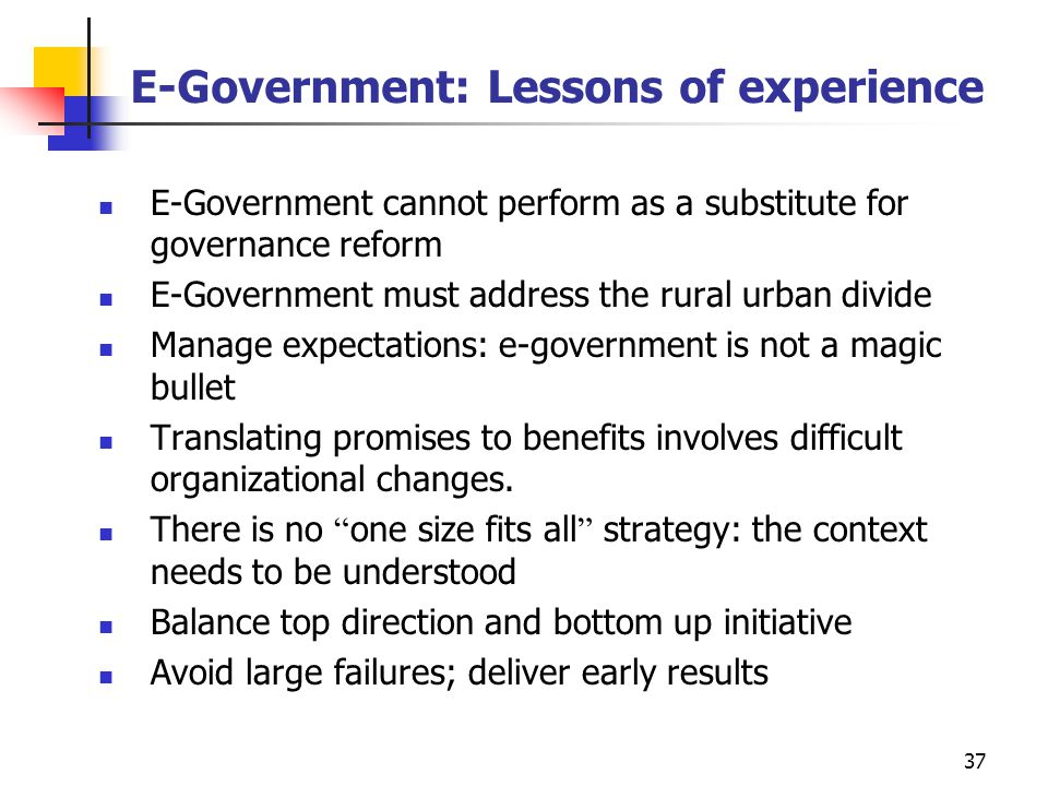 E-Government: Lessons of experience