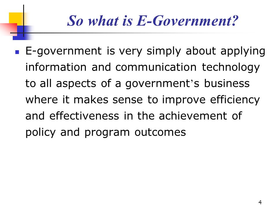 So what is E-Government