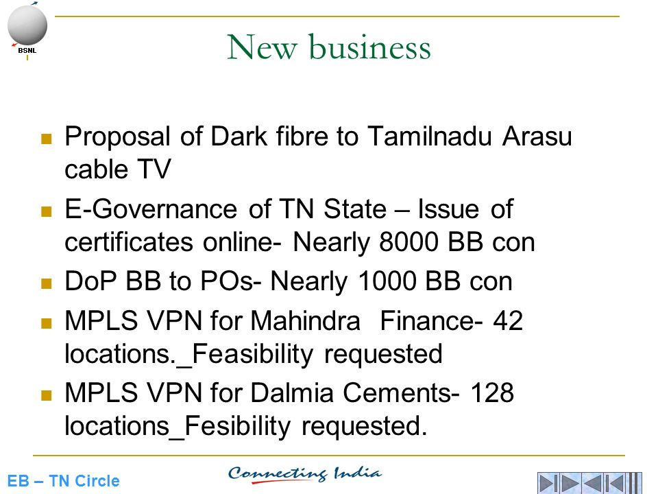 New business Proposal of Dark fibre to Tamilnadu Arasu cable TV