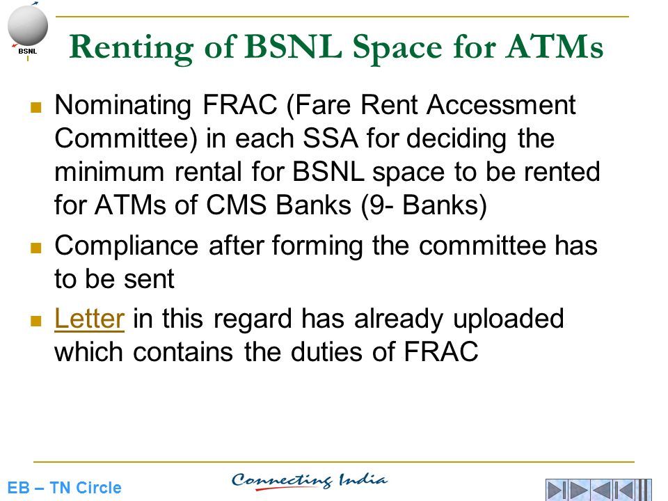 Renting of BSNL Space for ATMs