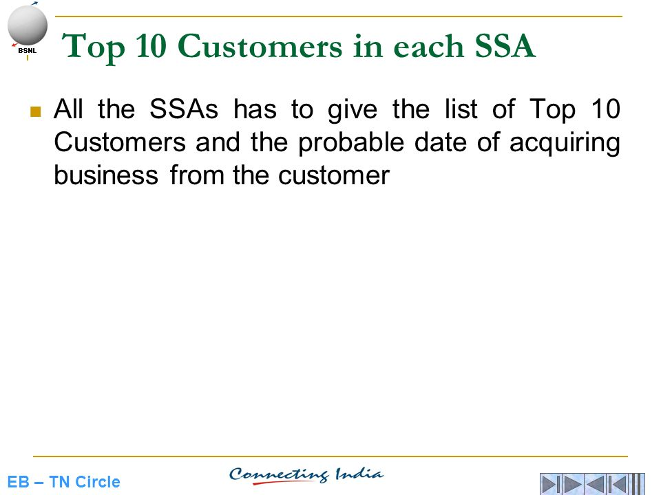 Top 10 Customers in each SSA