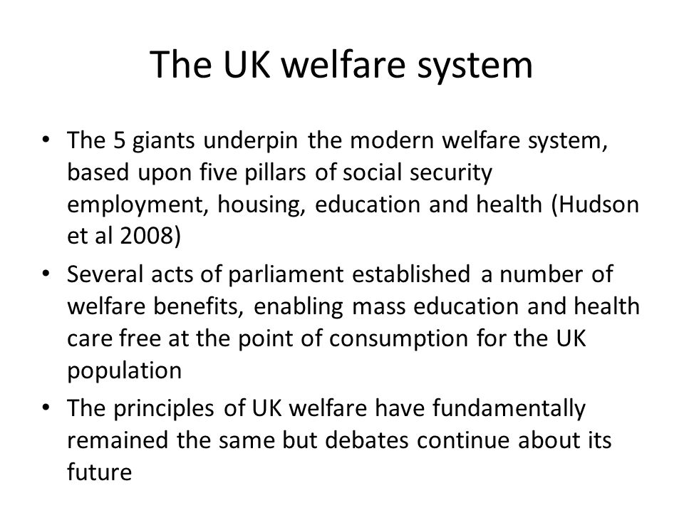 The UK welfare system