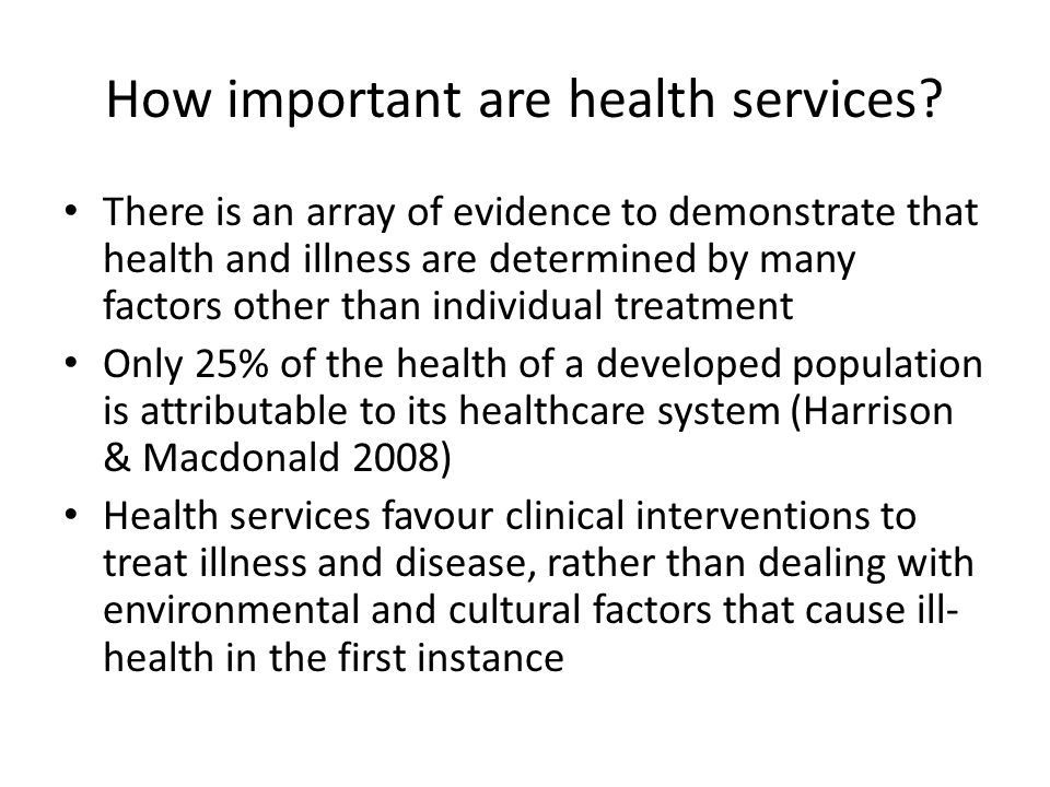 How important are health services