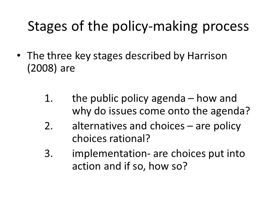 Stages of the policy-making process