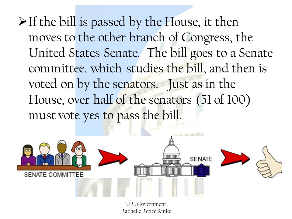 If the bill is passed by the House, it then moves to the other branch of Congress, the United States Senate. The bill goes to a Senate committee, which studies the bill, and then is voted on by the senators. Just as in the House, over half of the senators (51 of 100) must vote yes to pass the bill.