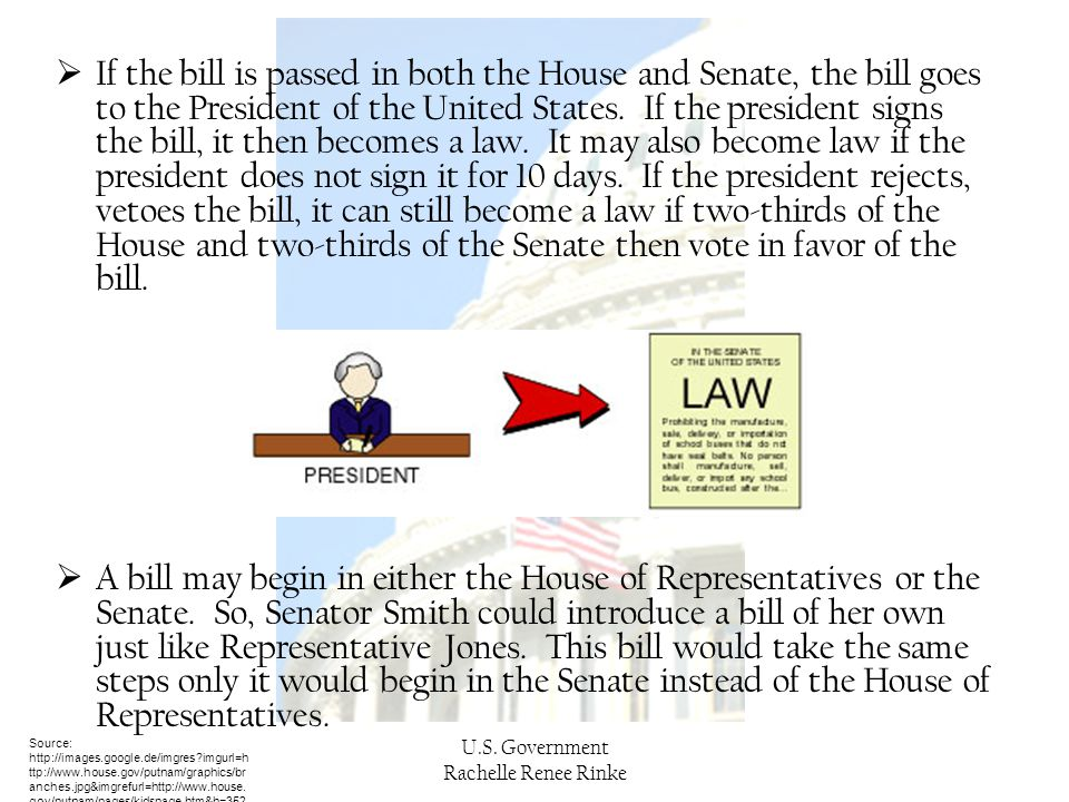 If the bill is passed in both the House and Senate, the bill goes to the President of the United States. If the president signs the bill, it then becomes a law. It may also become law if the president does not sign it for 10 days. If the president rejects, vetoes the bill, it can still become a law if two-thirds of the House and two-thirds of the Senate then vote in favor of the bill.