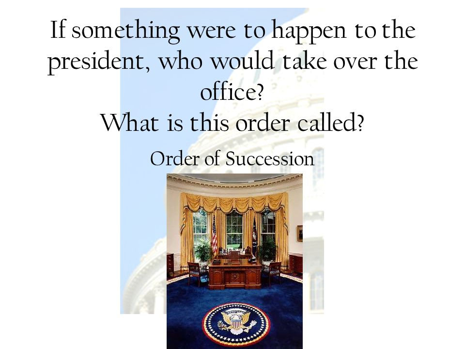 If something were to happen to the president, who would take over the office What is this order called