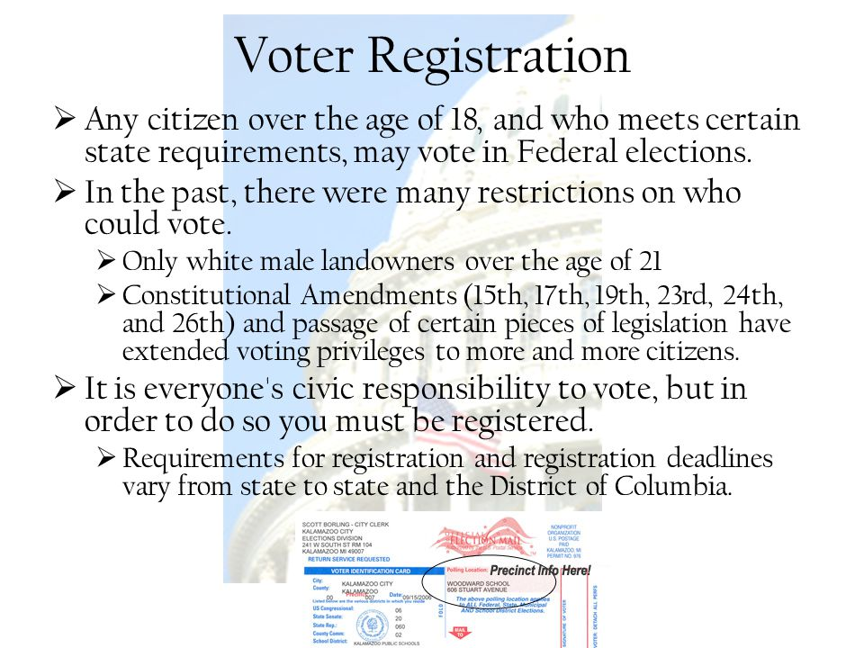 Voter Registration Any citizen over the age of 18, and who meets certain state requirements, may vote in Federal elections.