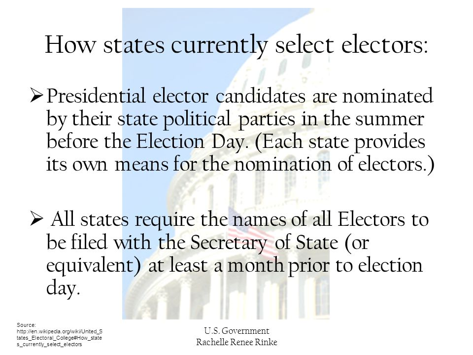 How states currently select electors: