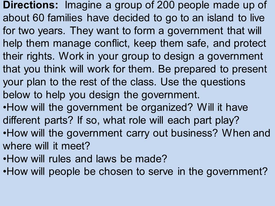 Designing a Government