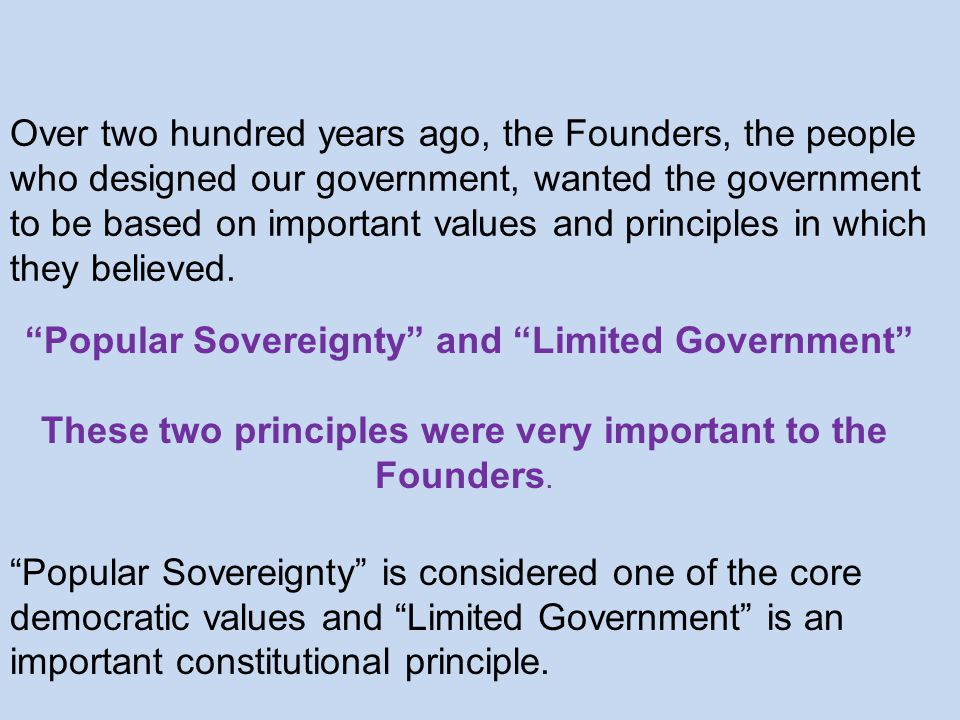 Popular Sovereignty and Limited Government