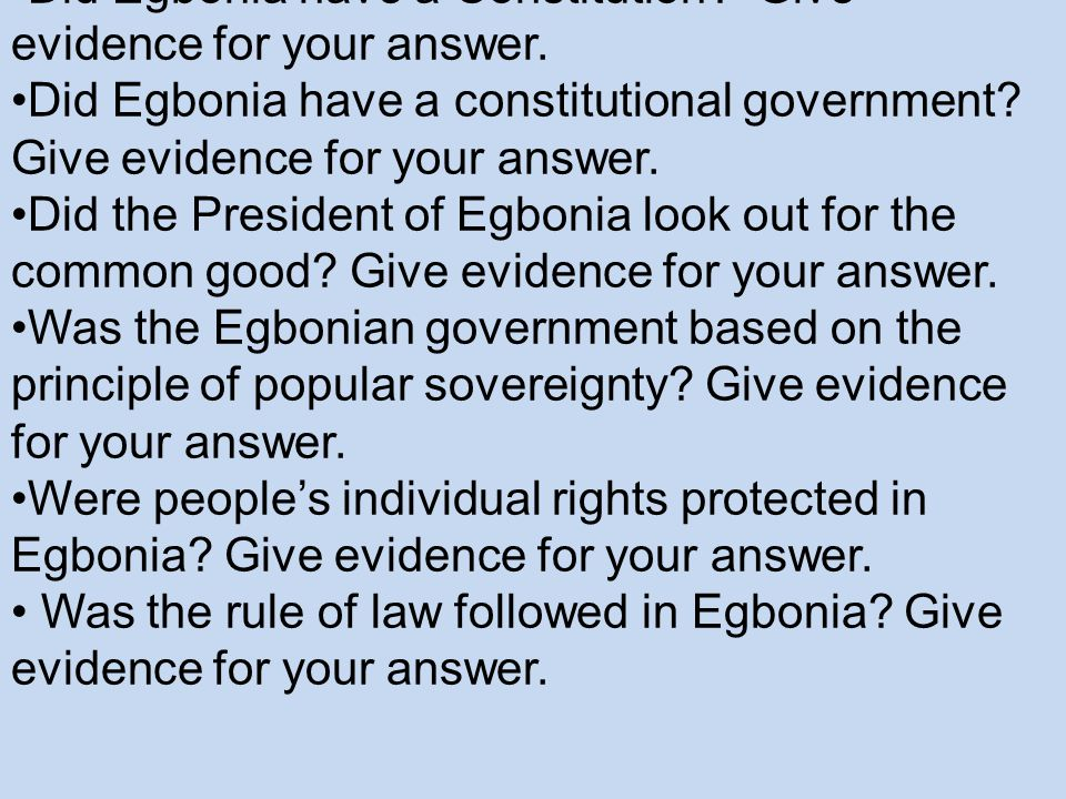 Analyzing the Government of Egbonia