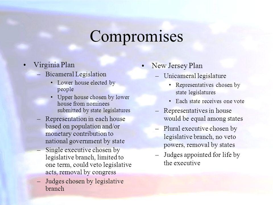 Compromises Virginia Plan New Jersey Plan Bicameral Legislation