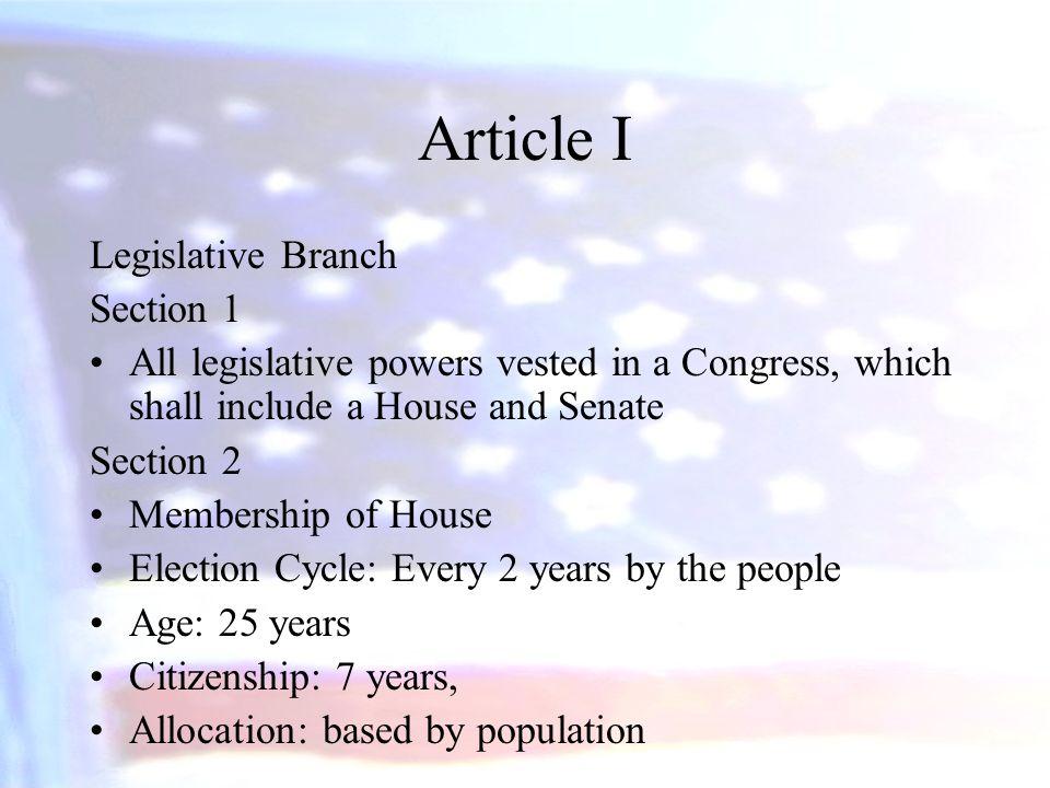 Article I Legislative Branch Section 1