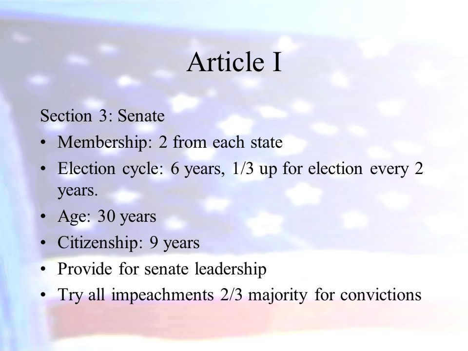 Article I Section 3: Senate Membership: 2 from each state