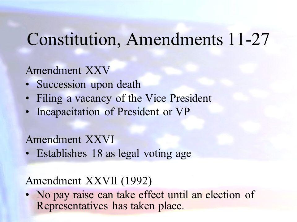 Constitution, Amendments 11-27