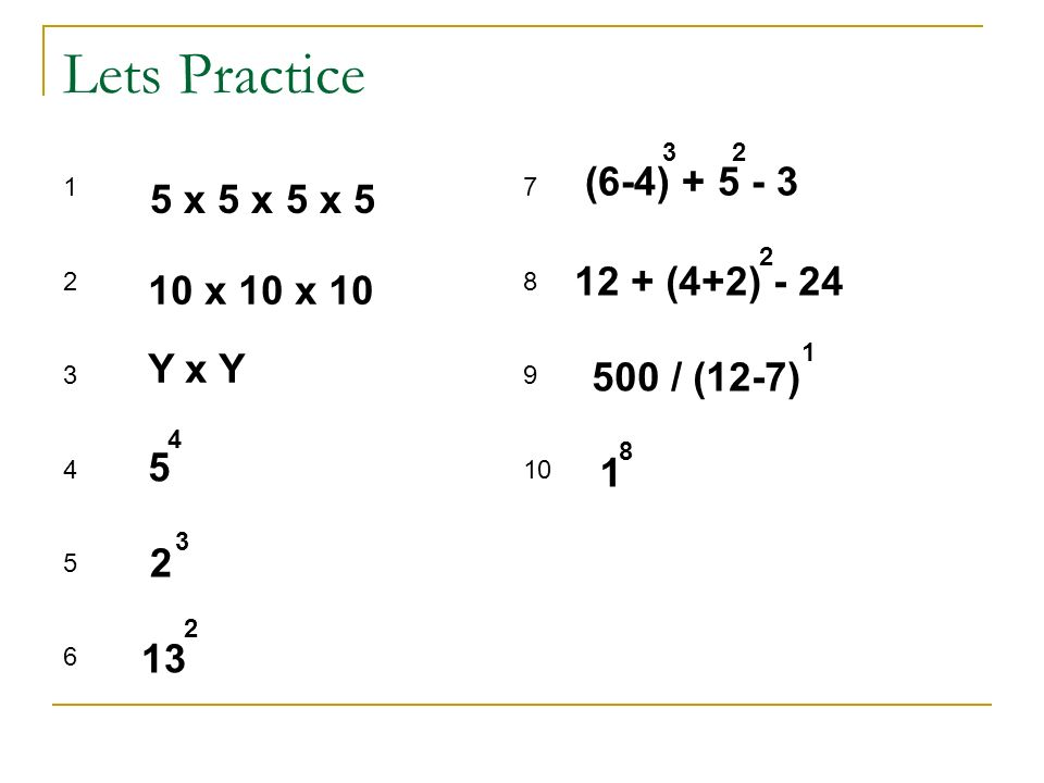 Lets Practice (6-4) + 5 - 3 5 x 5 x 5 x 5 12 + (4+2) - 24 10 x 10 x 10
