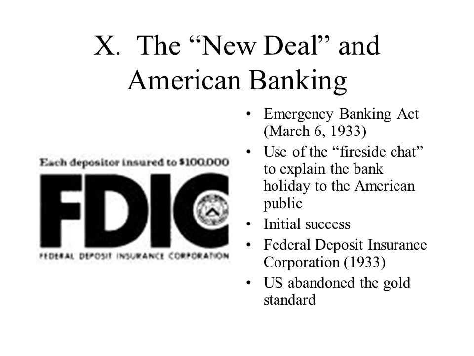 X. The New Deal and American Banking