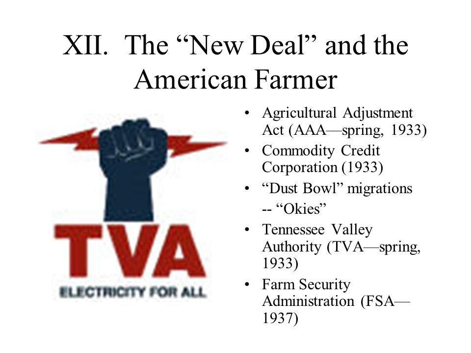 XII. The New Deal and the American Farmer