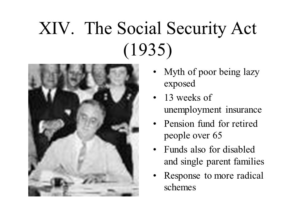XIV. The Social Security Act (1935)