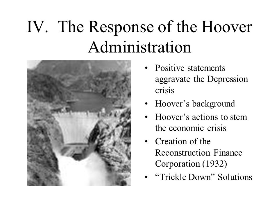 IV. The Response of the Hoover Administration