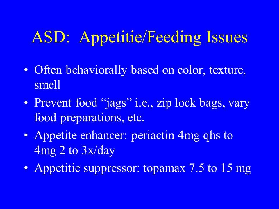ASD: Appetitie/Feeding Issues
