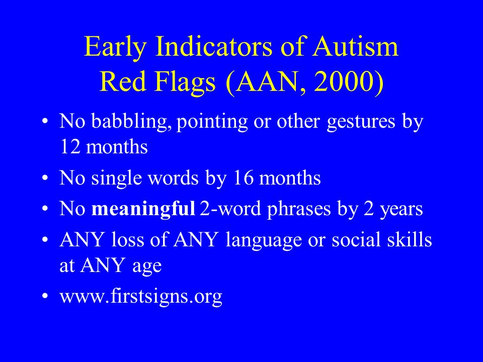 Early Indicators of Autism Red Flags (AAN, 2000)