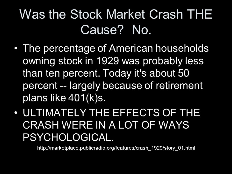 Was the Stock Market Crash THE Cause No.