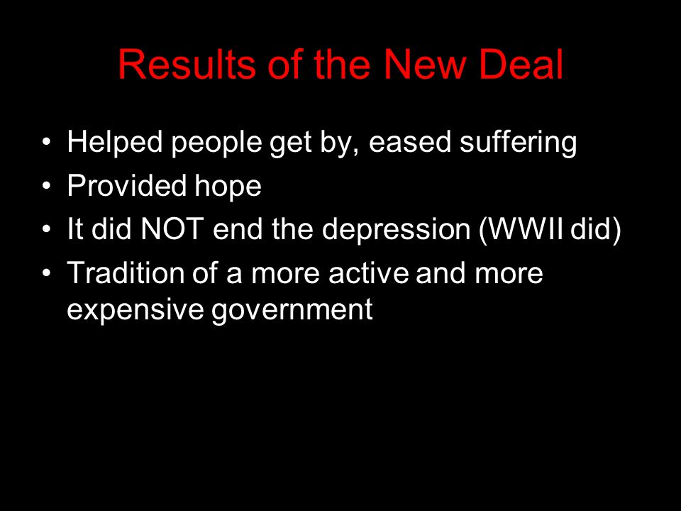 Results of the New Deal Helped people get by, eased suffering