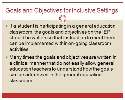 Goals and Objectives for Inclusive Settings