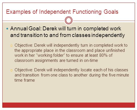 Examples of Independent Functioning Goals