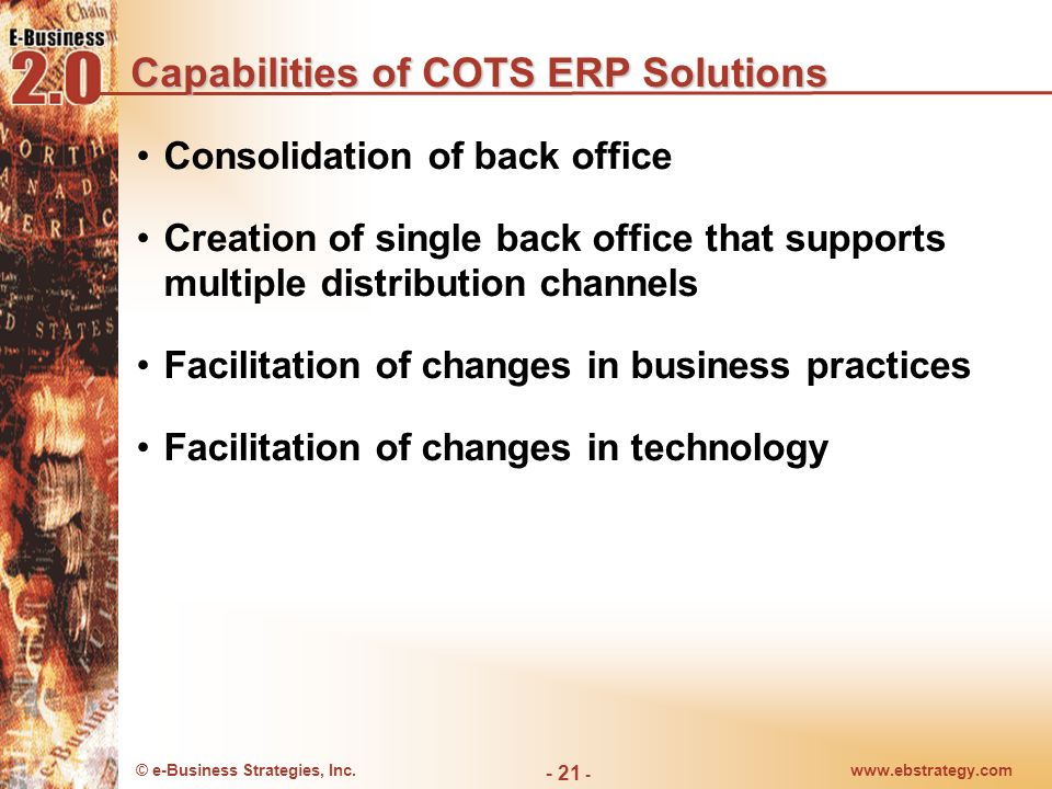 Capabilities of COTS ERP Solutions