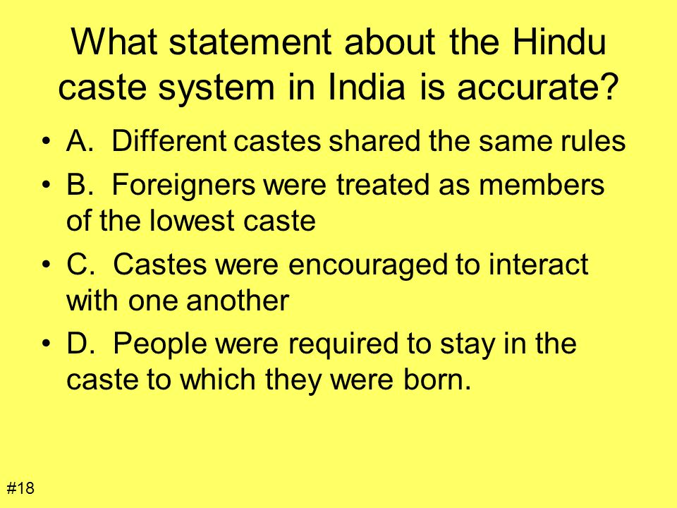 What statement about the Hindu caste system in India is accurate