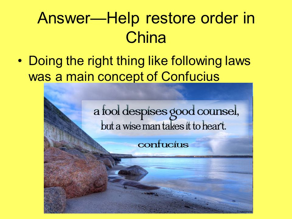 Answer—Help restore order in China