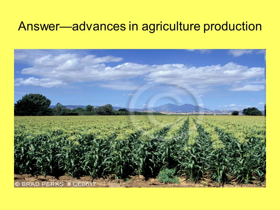 Answer—advances in agriculture production