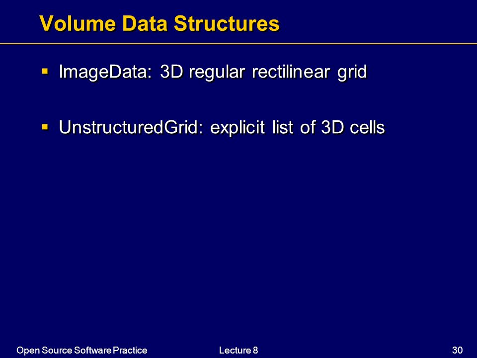 Volume Data Structures
