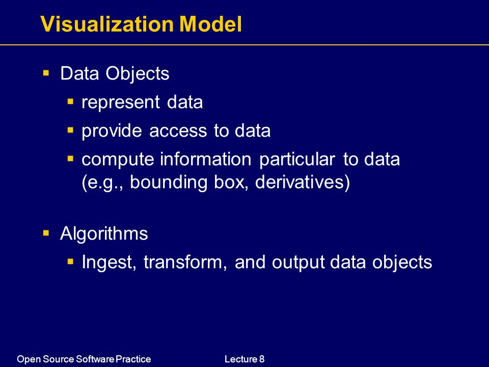 Visualization Model Data Objects represent data provide access to data