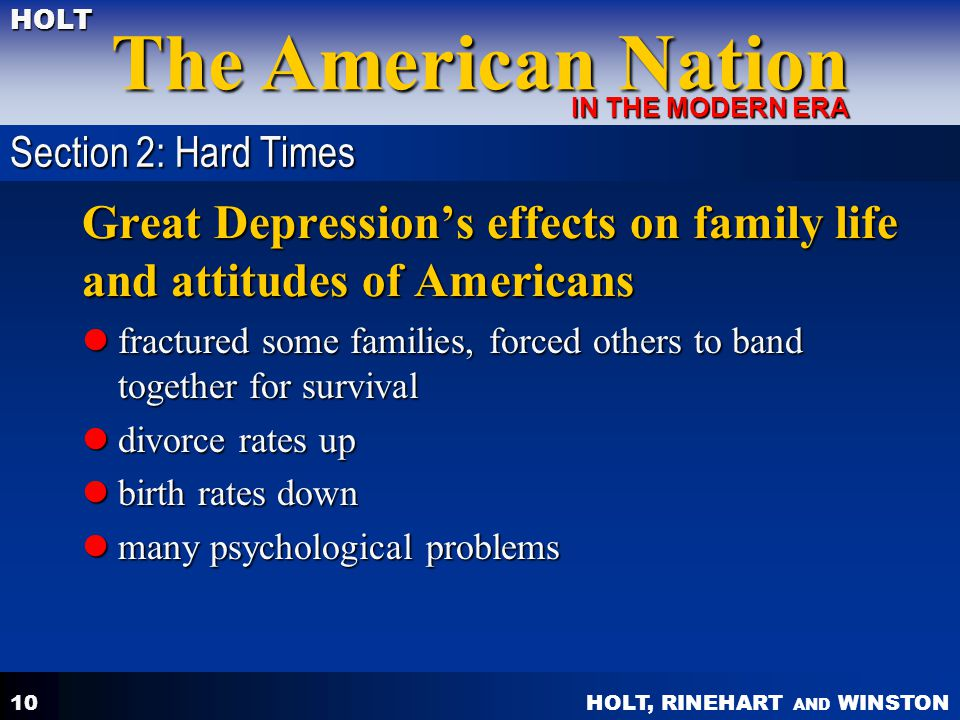 Great Depression's effects on family life and attitudes of Americans