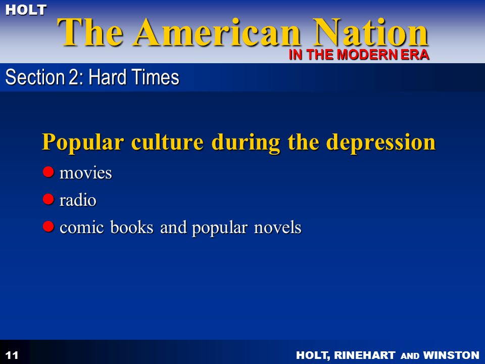 Popular culture during the depression
