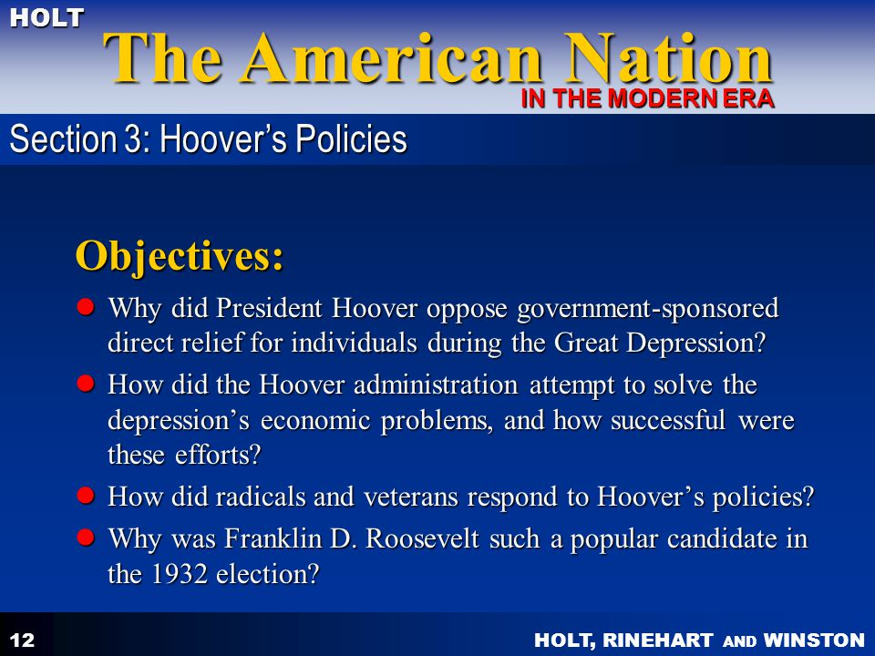 Objectives: Section 3: Hoover's Policies