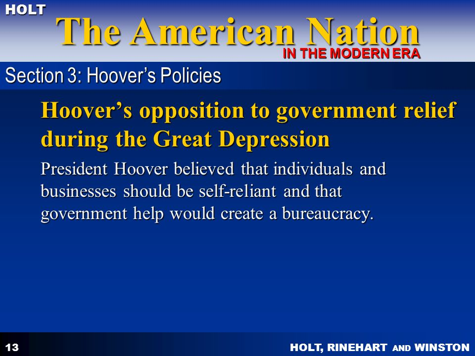 Hoover's opposition to government relief during the Great Depression
