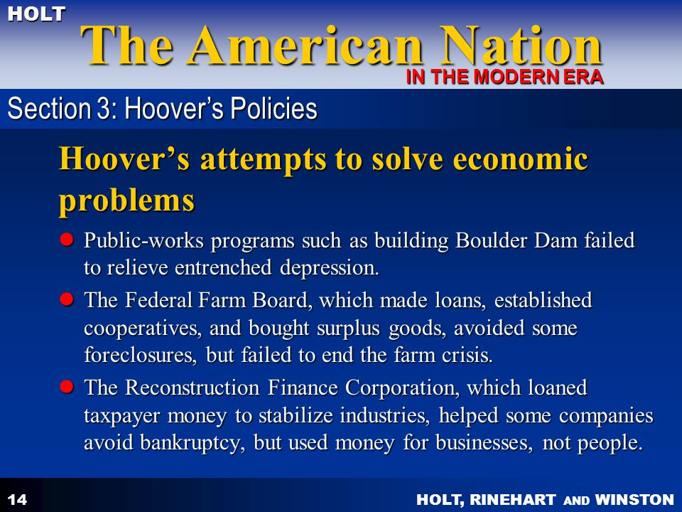 Hoover's attempts to solve economic problems