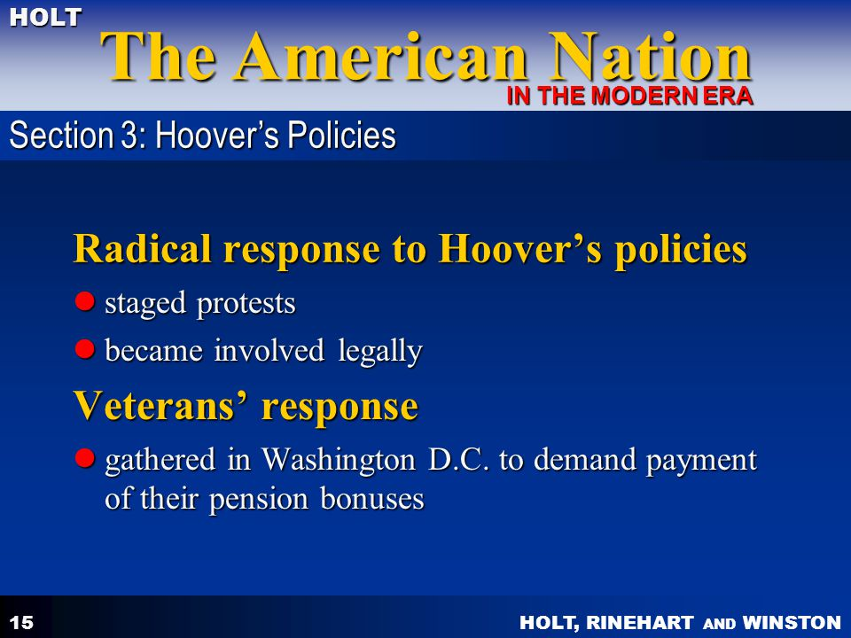 Radical response to Hoover's policies