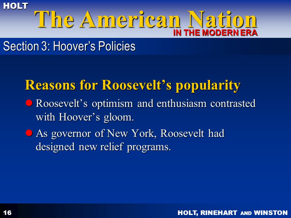 Reasons for Roosevelt's popularity