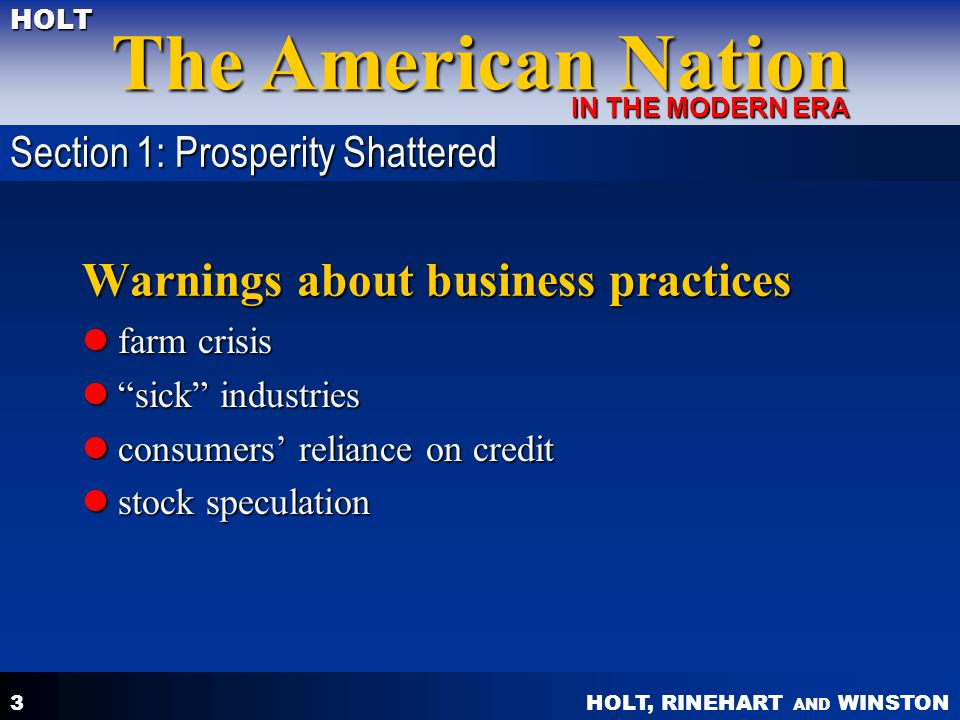Warnings about business practices