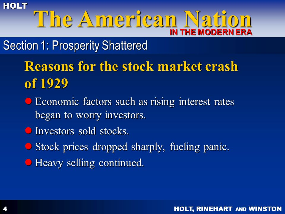 Reasons for the stock market crash of 1929