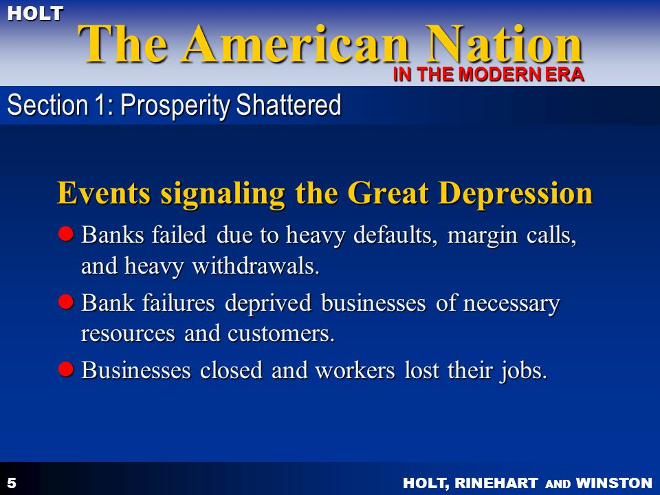 Events signaling the Great Depression