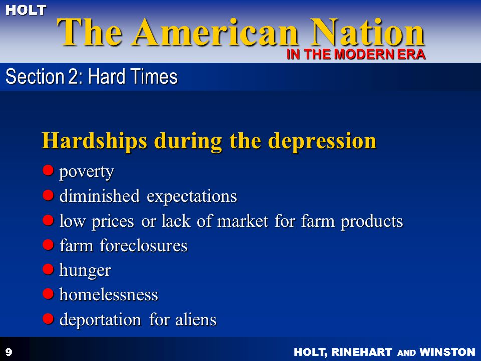Hardships during the depression