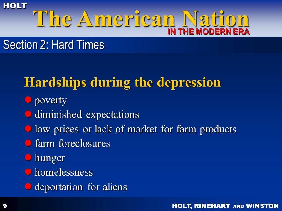 Hardships during the depression